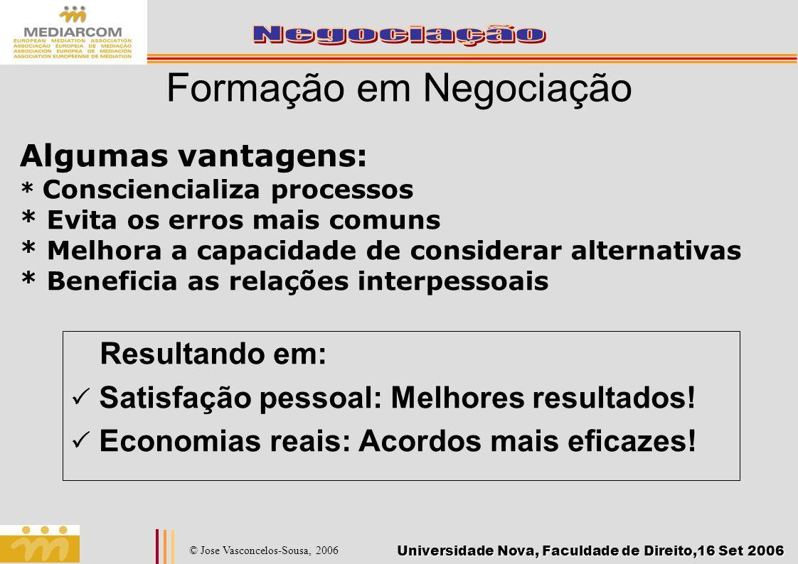 Universidade Nova, Faculdade de Direito,16 Set 2006 © Jose Vasconcelos-Sousa, 2006 Formação em Negociação Resultando em: Satisfação pessoal: Melhores