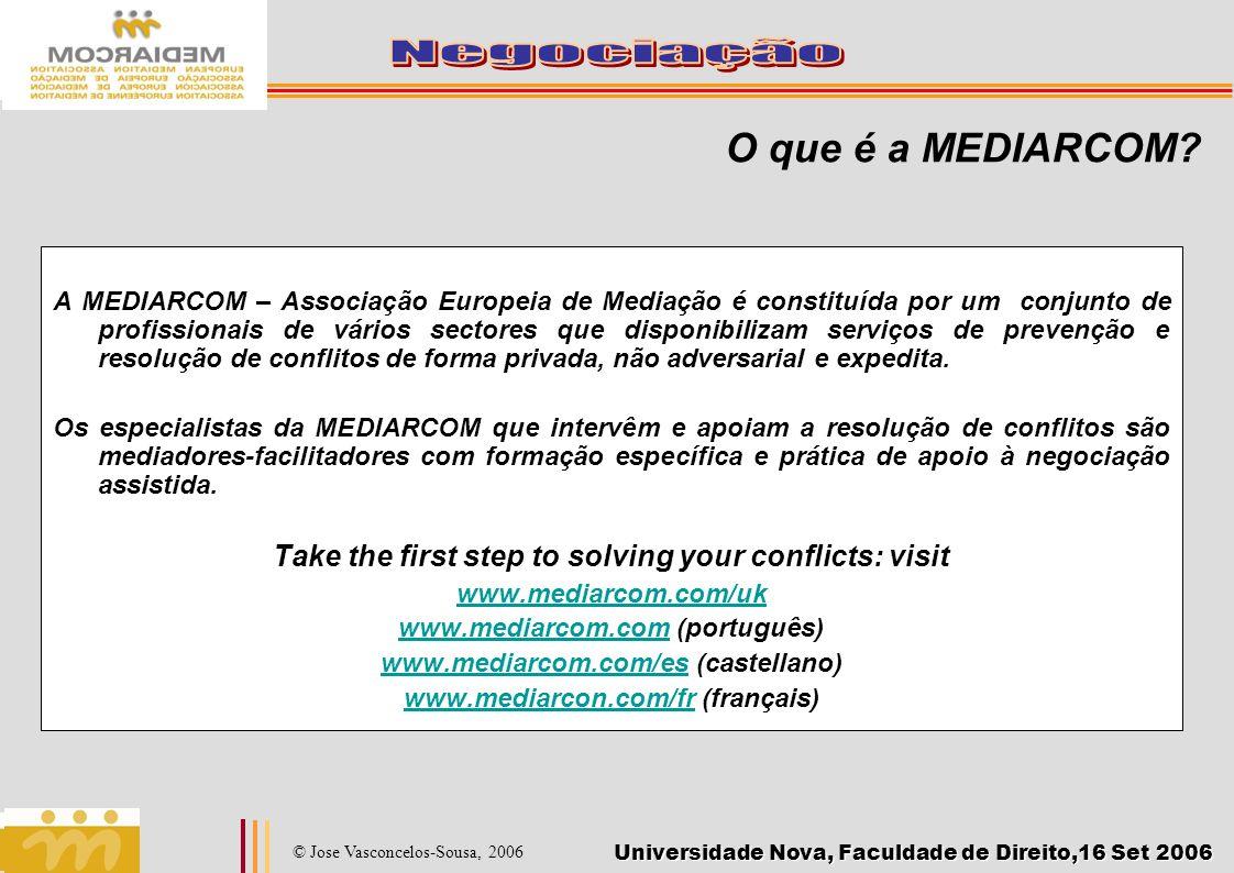 Universidade Nova, Faculdade de Direito,16 Set 2006 © Jose Vasconcelos-Sousa, 2006 O que é a MEDIARCOM? A MEDIARCOM – Associação Europeia de Mediação