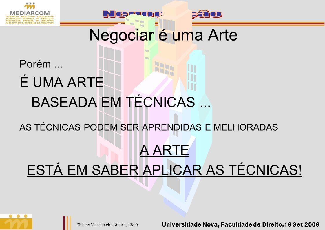 Universidade Nova, Faculdade de Direito,16 Set 2006 © Jose Vasconcelos-Sousa, 2006 Negociar é uma Arte Porém... É UMA ARTE BASEADA EM TÉCNICAS... AS T
