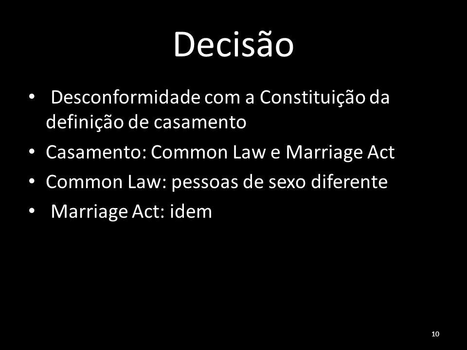 10 Decisão Desconformidade com a Constituição da definição de casamento Casamento: Common Law e Marriage Act Common Law: pessoas de sexo diferente Mar