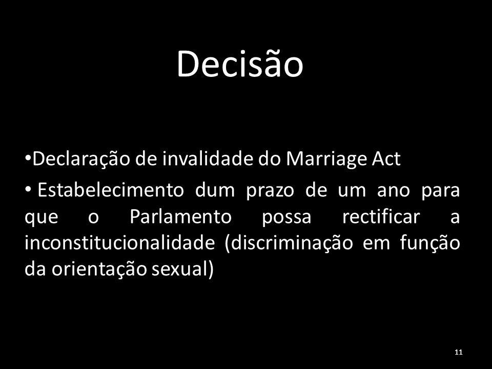 11 Decisão Declaração de invalidade do Marriage Act Estabelecimento dum prazo de um ano para que o Parlamento possa rectificar a inconstitucionalidade