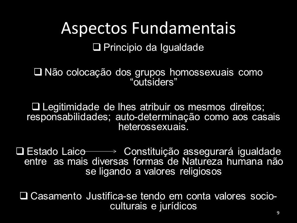 9 Aspectos Fundamentais Principio da Igualdade Não colocação dos grupos homossexuais como outsiders Legitimidade de lhes atribuir os mesmos direitos;