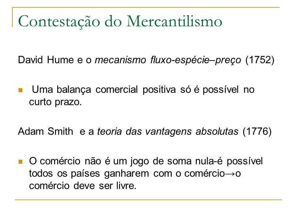 Contestação do Mercantilismo David Hume e o mecanismo fluxo-espécie–preço (1752) Uma balança comercial positiva só é possível no curto prazo. Adam Smi
