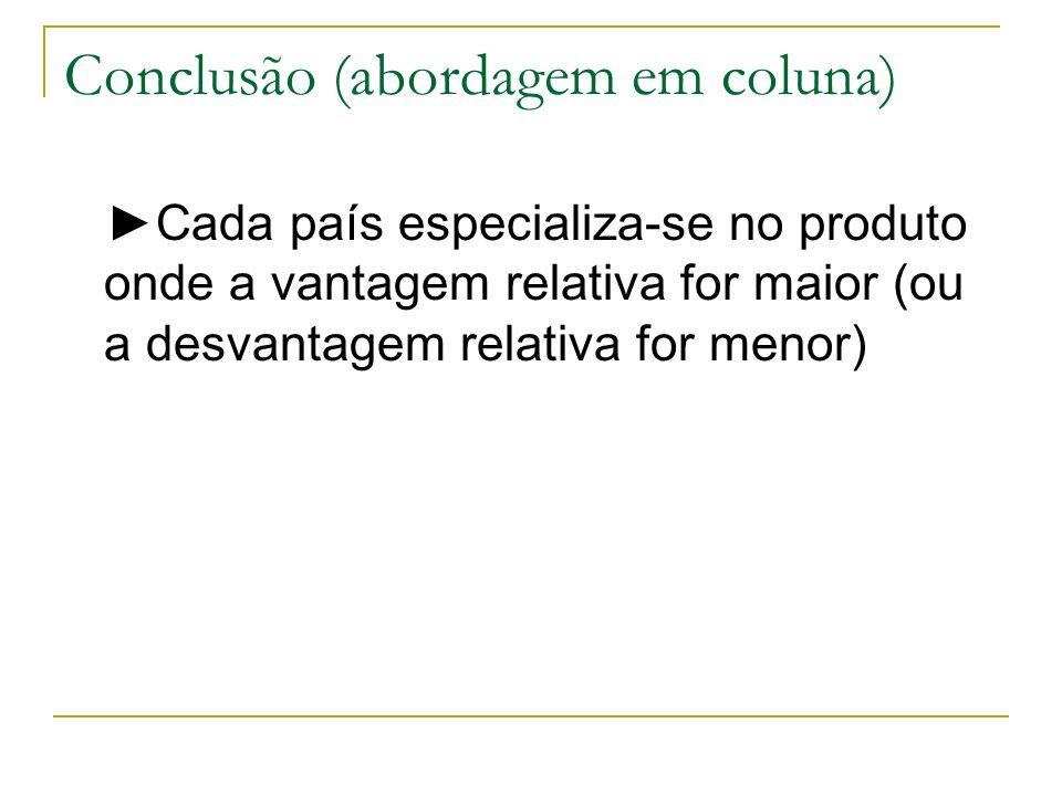 Conclusão (abordagem em coluna) Cada país especializa-se no produto onde a vantagem relativa for maior (ou a desvantagem relativa for menor)