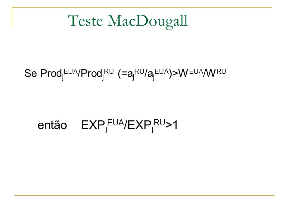 Teste MacDougall Se Prod j EUA /Prod j RU (=a j RU /a j EUA )>W EUA /W RU então EXP j EUA /EXP j RU >1
