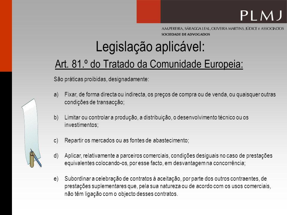 Legislação aplicável: Art. 81.º do Tratado da Comunidade Europeia: São práticas proibidas, designadamente: a)Fixar, de forma directa ou indirecta, os