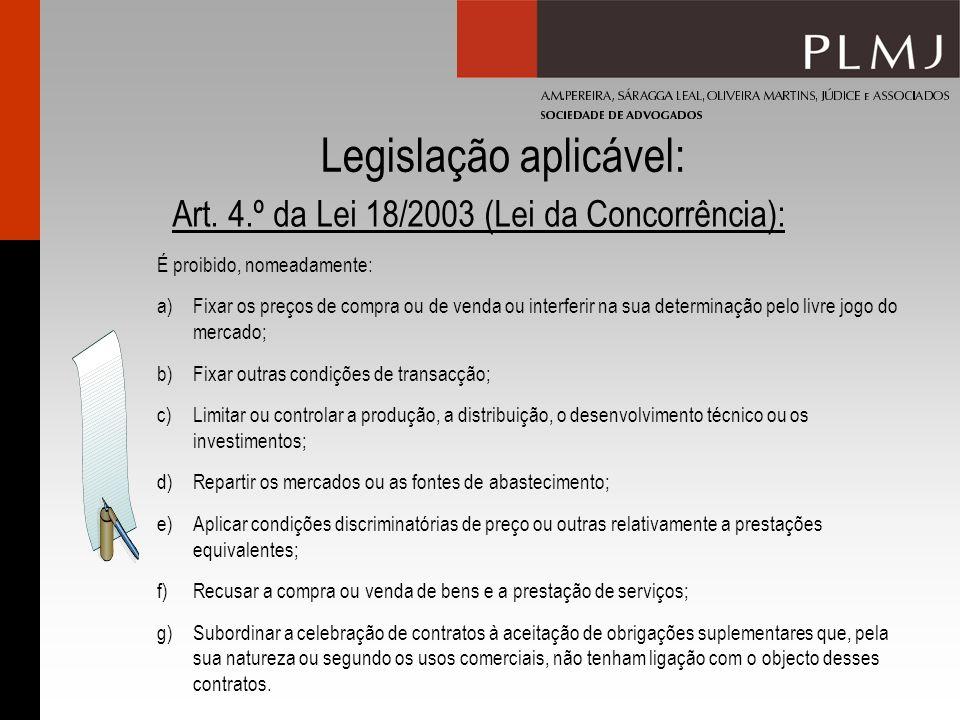 Legislação aplicável: Art. 4.º da Lei 18/2003 (Lei da Concorrência): É proibido, nomeadamente: a)Fixar os preços de compra ou de venda ou interferir n