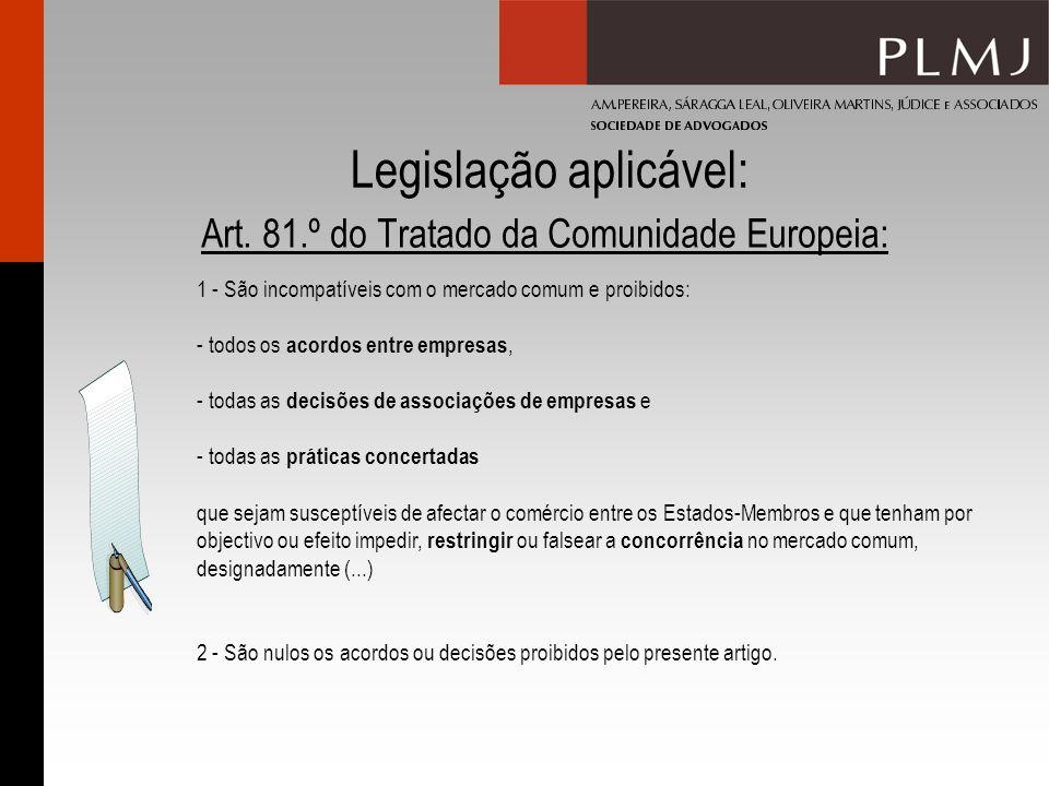 Legislação aplicável: Art. 81.º do Tratado da Comunidade Europeia: 1 - São incompatíveis com o mercado comum e proibidos: - todos os acordos entre emp