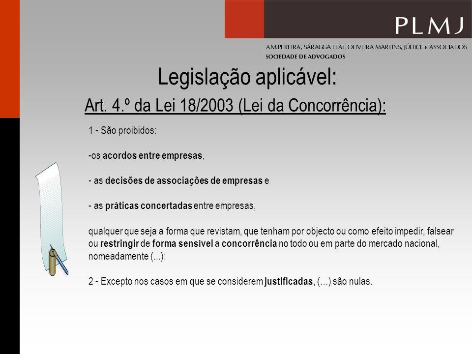 Legislação aplicável: Art. 4.º da Lei 18/2003 (Lei da Concorrência): 1 - São proibidos: -os acordos entre empresas, - as decisões de associações de em