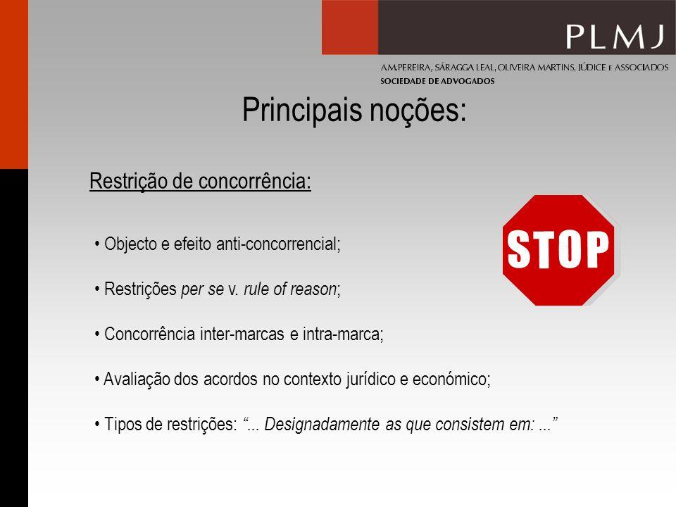 Principais noções: Restrição de concorrência: Objecto e efeito anti-concorrencial; Restrições per se v. rule of reason ; Concorrência inter-marcas e i