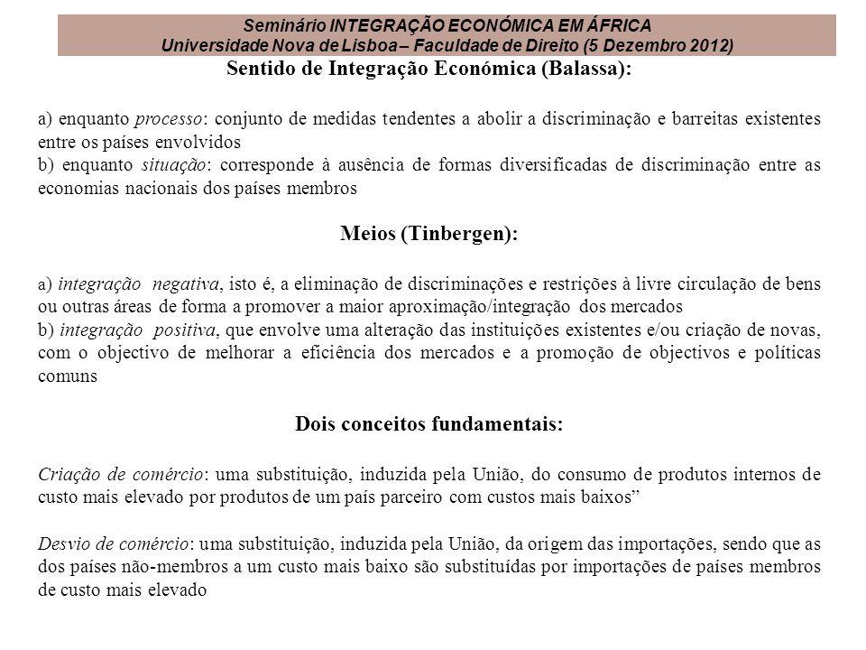 Sentido de Integração Económica (Balassa): a) enquanto processo: conjunto de medidas tendentes a abolir a discriminação e barreitas existentes entre o