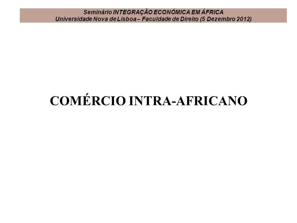 COMÉRCIO INTRA-AFRICANO Seminário INTEGRAÇÃO ECONÓMICA EM ÁFRICA Universidade Nova de Lisboa – Faculdade de Direito (5 Dezembro 2012)