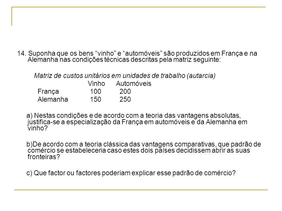 14. Suponha que os bens vinho e automóveis são produzidos em França e na Alemanha nas condições técnicas descritas pela matriz seguinte: Matriz de cus