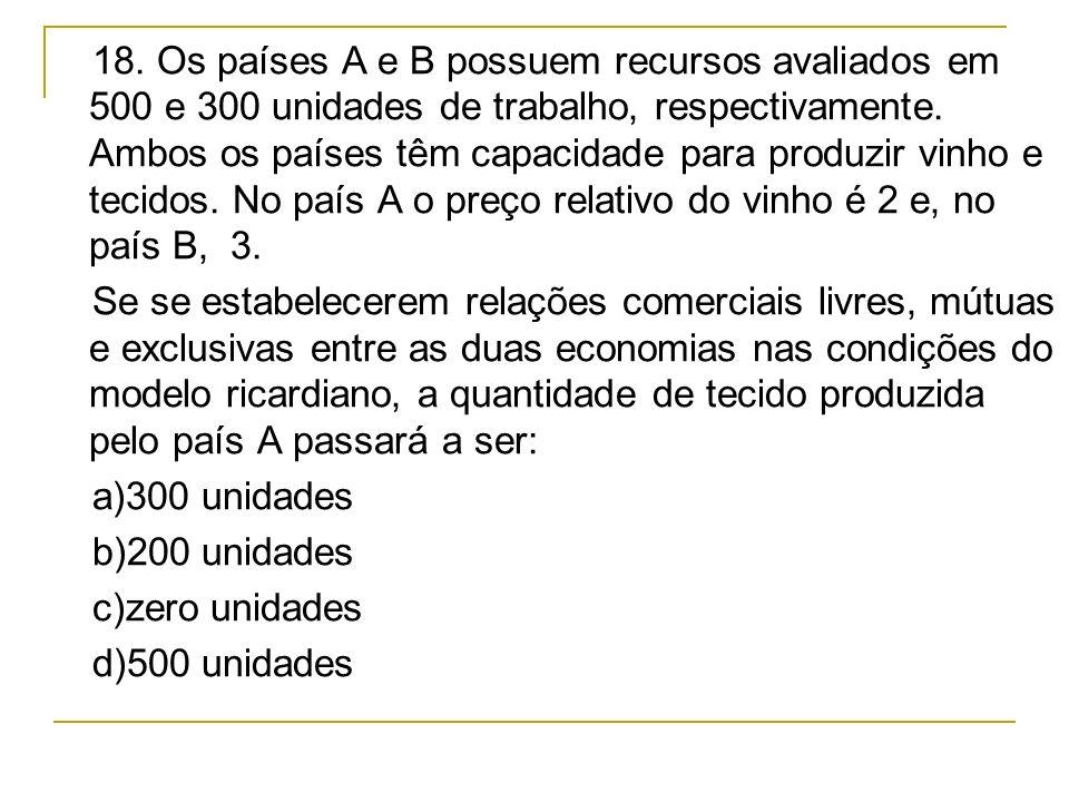 18. Os países A e B possuem recursos avaliados em 500 e 300 unidades de trabalho, respectivamente. Ambos os países têm capacidade para produzir vinho