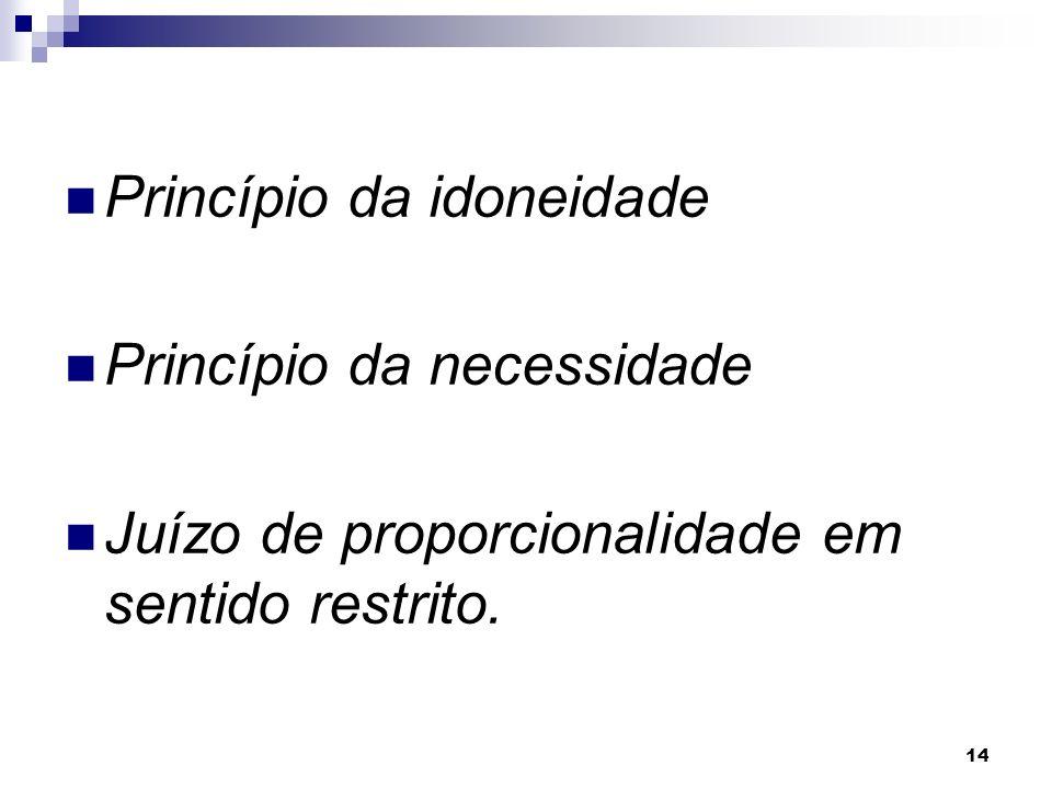 14 Princípio da idoneidade Princípio da necessidade Juízo de proporcionalidade em sentido restrito.