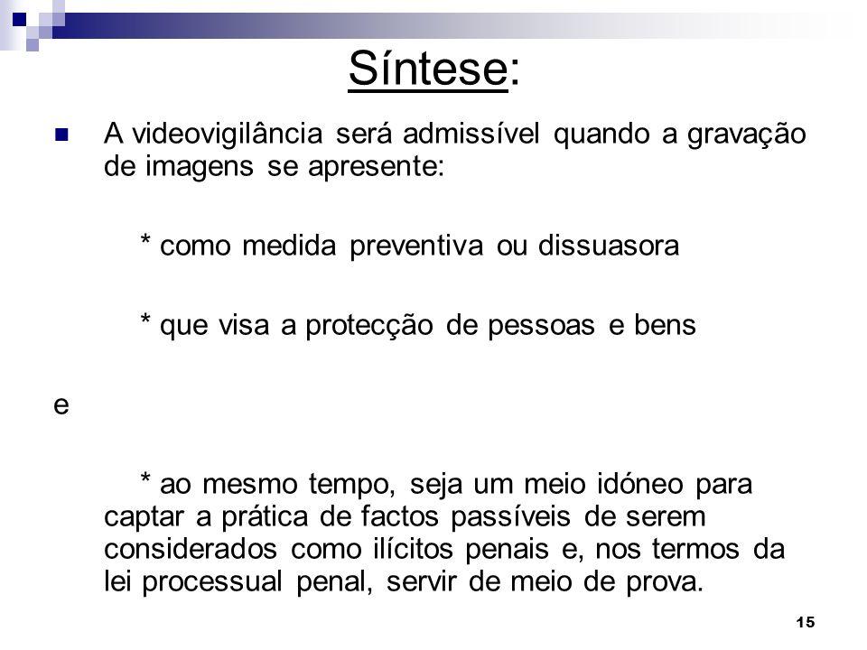 15 A videovigilância será admissível quando a gravação de imagens se apresente: * como medida preventiva ou dissuasora * que visa a protecção de pesso
