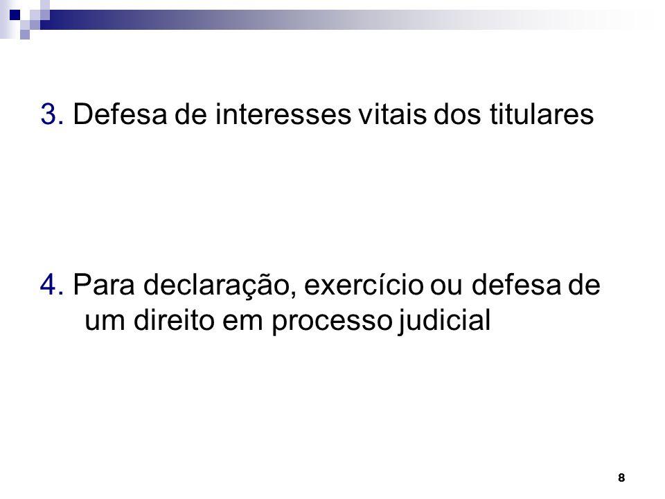 8 3. Defesa de interesses vitais dos titulares 4. Para declaração, exercício ou defesa de um direito em processo judicial