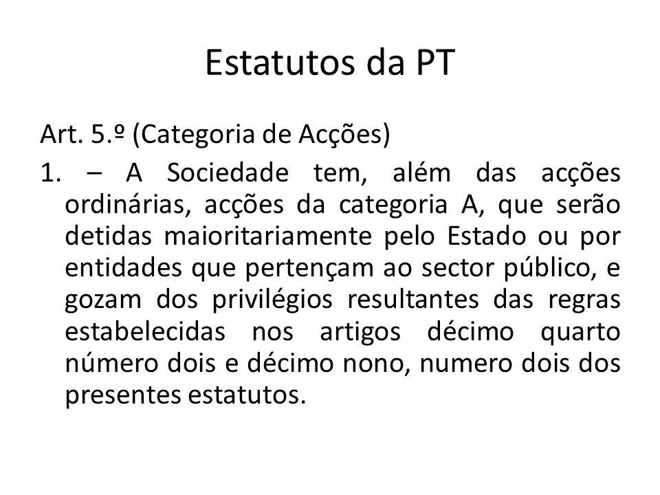 Estatutos da PT Art. 5.º (Categoria de Acções) 1. – A Sociedade tem, além das acções ordinárias, acções da categoria A, que serão detidas maioritariam