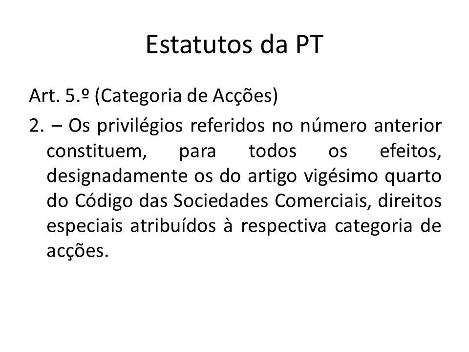 Estatutos da PT Art. 5.º (Categoria de Acções) 2. – Os privilégios referidos no número anterior constituem, para todos os efeitos, designadamente os d