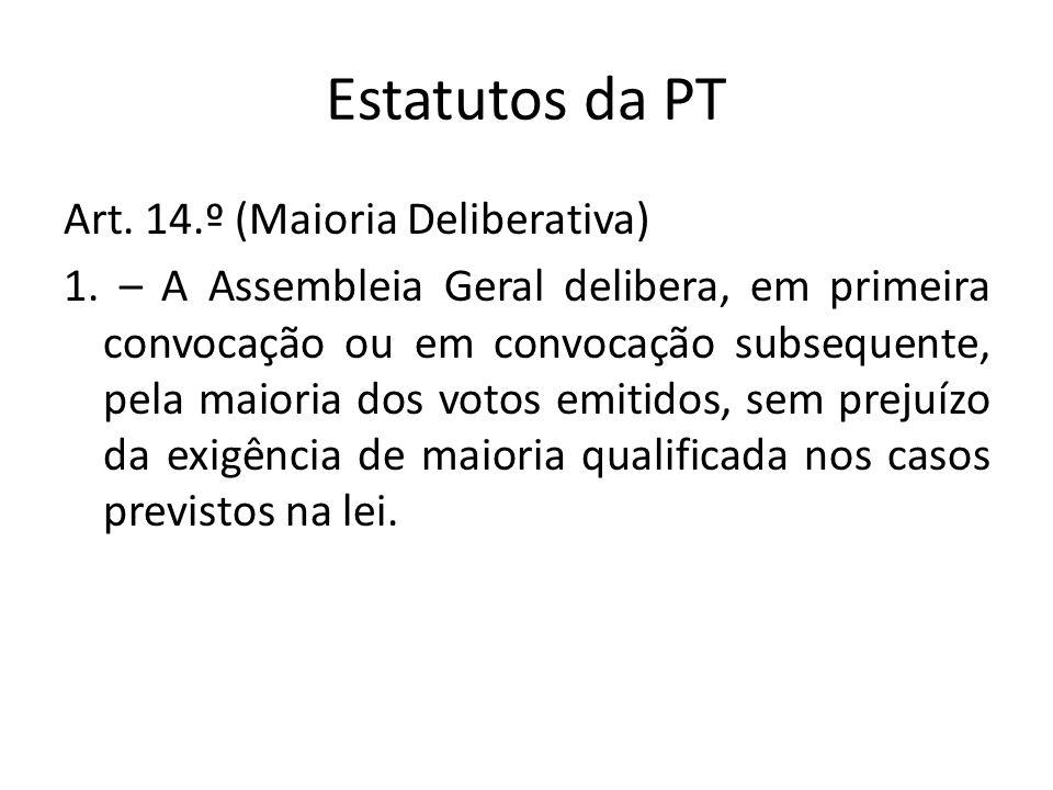 Estatutos da PT Art. 14.º (Maioria Deliberativa) 1. – A Assembleia Geral delibera, em primeira convocação ou em convocação subsequente, pela maioria d
