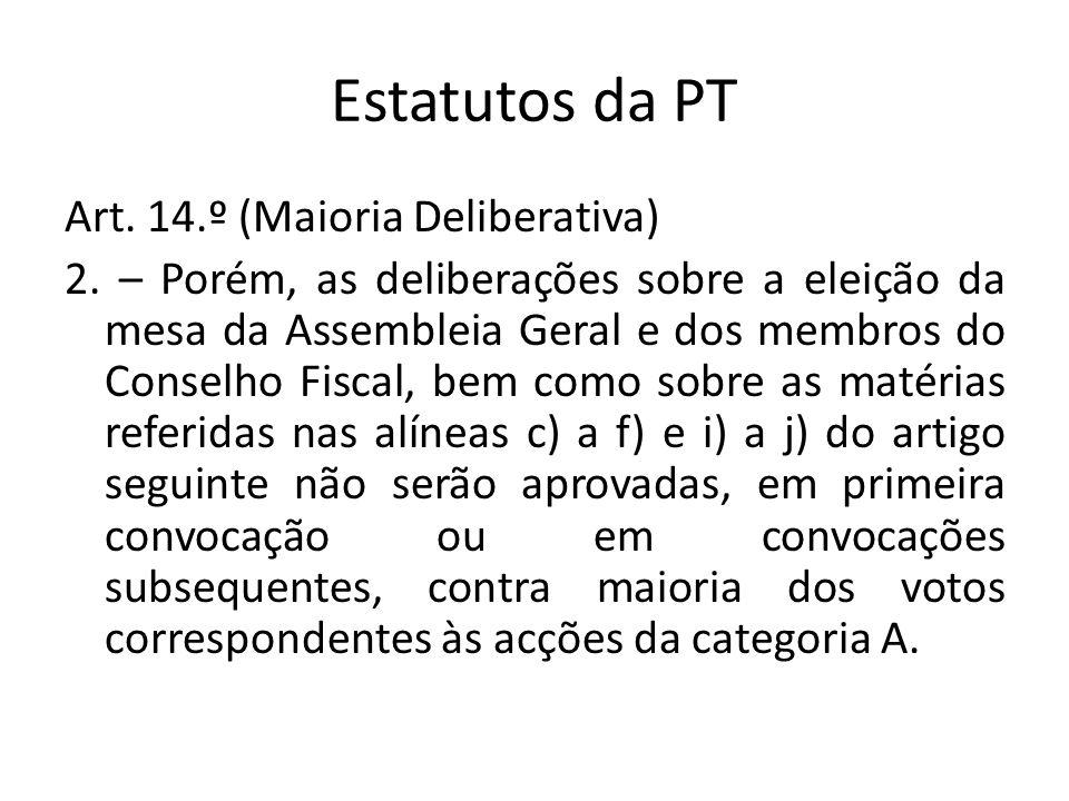 Estatutos da PT Art. 14.º (Maioria Deliberativa) 2. – Porém, as deliberações sobre a eleição da mesa da Assembleia Geral e dos membros do Conselho Fis