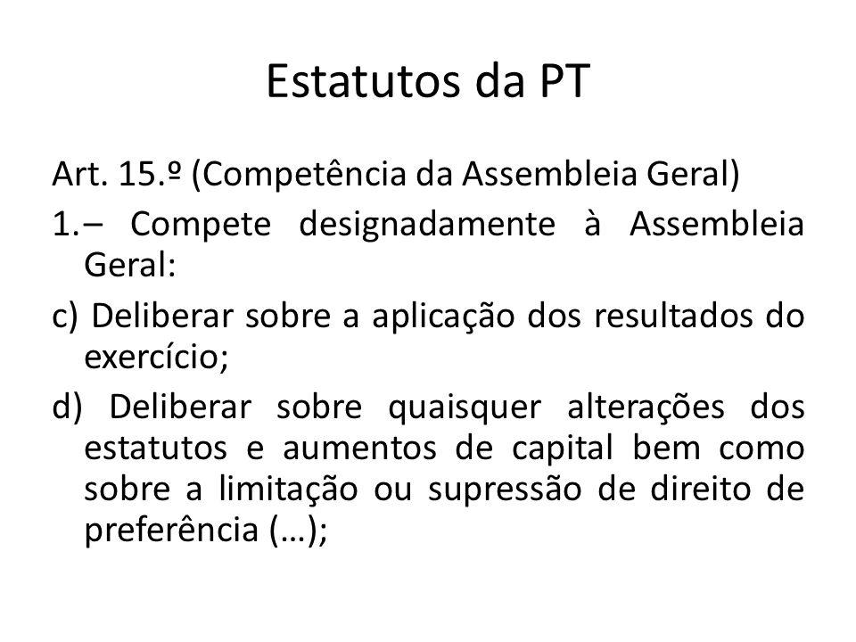 Estatutos da PT Art. 15.º (Competência da Assembleia Geral) 1.– Compete designadamente à Assembleia Geral: c) Deliberar sobre a aplicação dos resultad