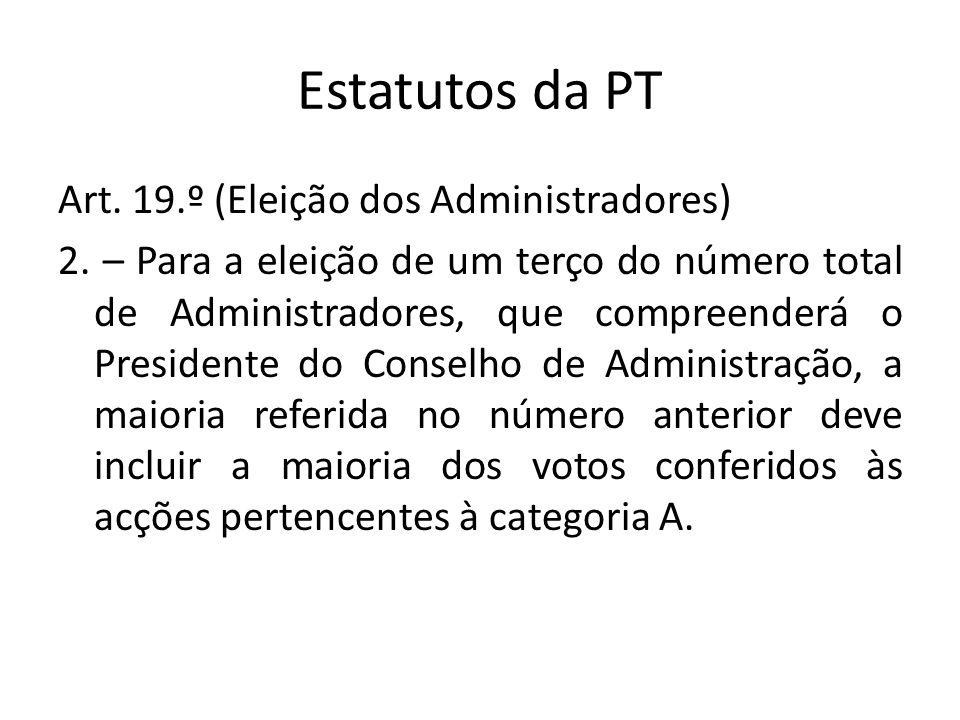 Estatutos da PT Art. 19.º (Eleição dos Administradores) 2. – Para a eleição de um terço do número total de Administradores, que compreenderá o Preside