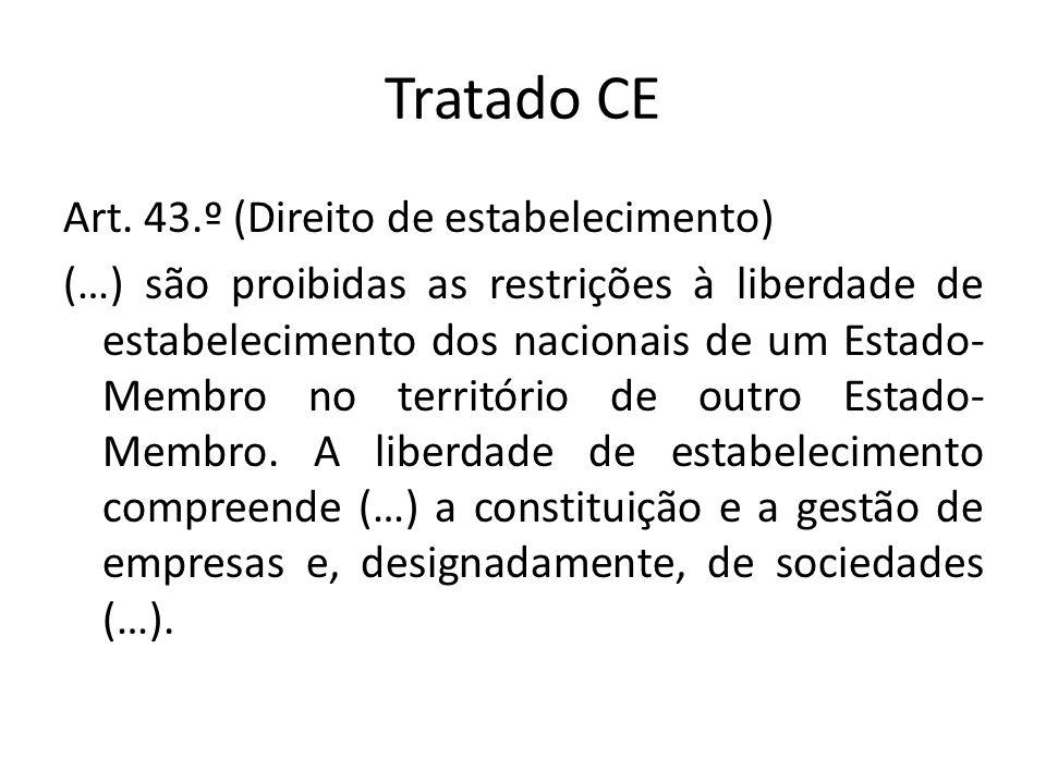 Tratado CE Art. 43.º (Direito de estabelecimento) (…) são proibidas as restrições à liberdade de estabelecimento dos nacionais de um Estado- Membro no