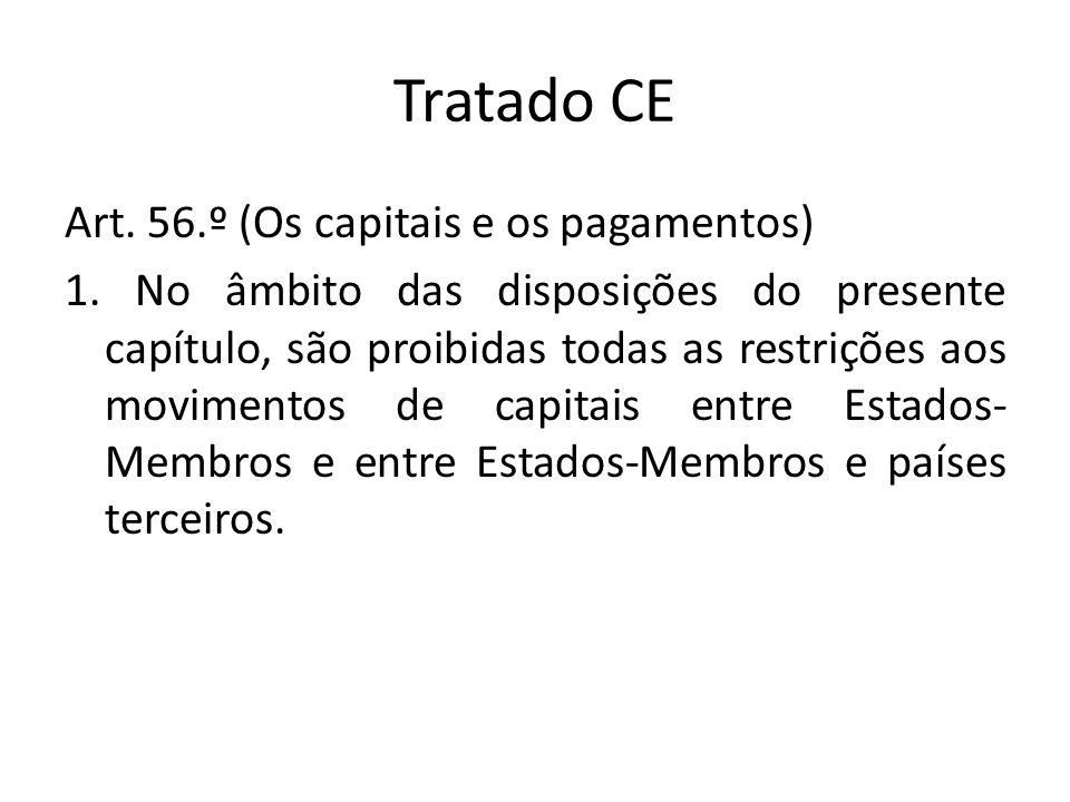 Tratado CE Art. 56.º (Os capitais e os pagamentos) 1. No âmbito das disposições do presente capítulo, são proibidas todas as restrições aos movimentos