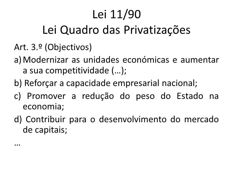 Lei 11/90 Lei Quadro das Privatizações Art. 3.º (Objectivos) a)Modernizar as unidades económicas e aumentar a sua competitividade (…); b) Reforçar a c