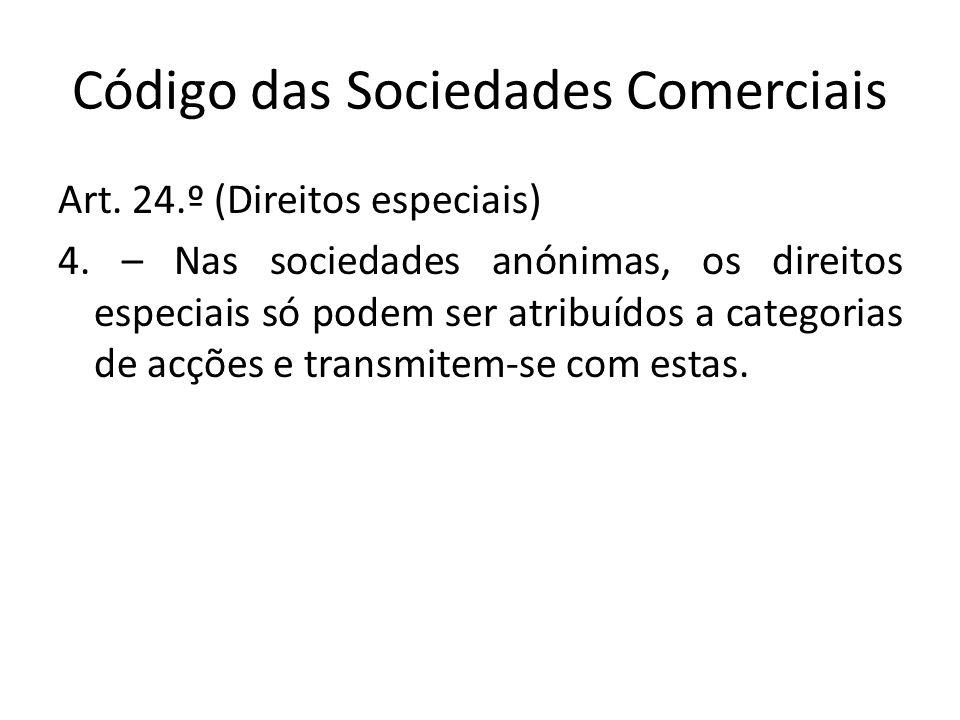 Código das Sociedades Comerciais Art. 24.º (Direitos especiais) 4. – Nas sociedades anónimas, os direitos especiais só podem ser atribuídos a categori