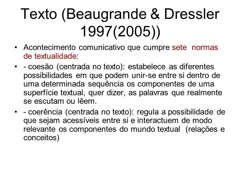 Texto (Beaugrande & Dressler 1997(2005)) Acontecimento comunicativo que cumpre sete normas de textualidade: - coesão (centrada no texto): estabelece a
