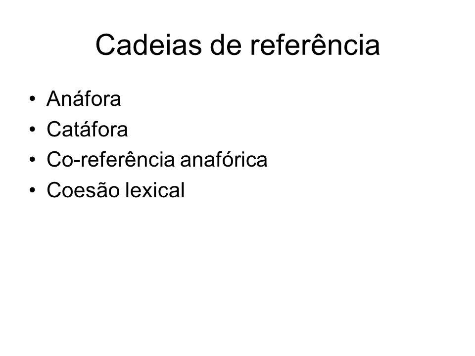Cadeias de referência Anáfora Catáfora Co-referência anafórica Coesão lexical