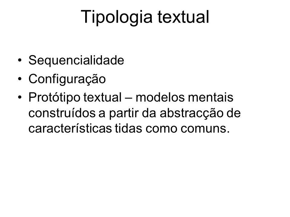 Tipologia textual Sequencialidade Configuração Protótipo textual – modelos mentais construídos a partir da abstracção de características tidas como co