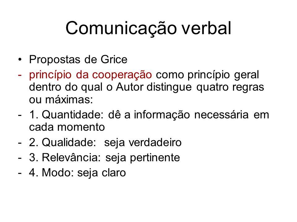 Comunicação verbal Propostas de Grice -princípio da cooperação como princípio geral dentro do qual o Autor distingue quatro regras ou máximas: -1. Qua