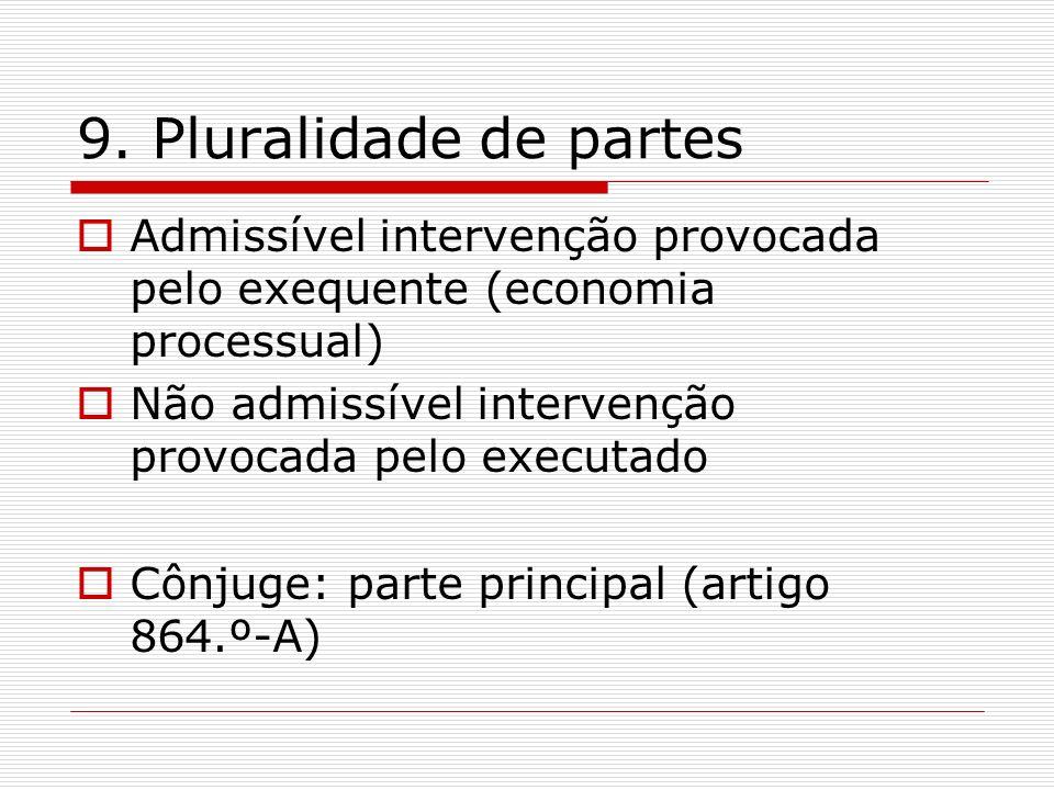 9. Pluralidade de partes Admissível intervenção provocada pelo exequente (economia processual) Não admissível intervenção provocada pelo executado Côn