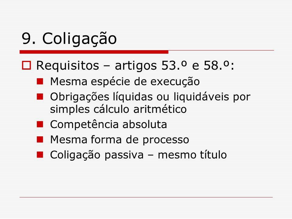 9. Coligação Requisitos – artigos 53.º e 58.º: Mesma espécie de execução Obrigações líquidas ou liquidáveis por simples cálculo aritmético Competência