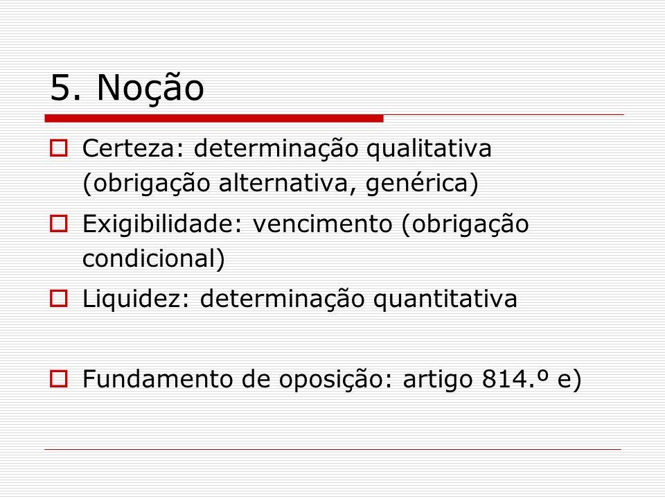 5. Noção Certeza: determinação qualitativa (obrigação alternativa, genérica) Exigibilidade: vencimento (obrigação condicional) Liquidez: determinação