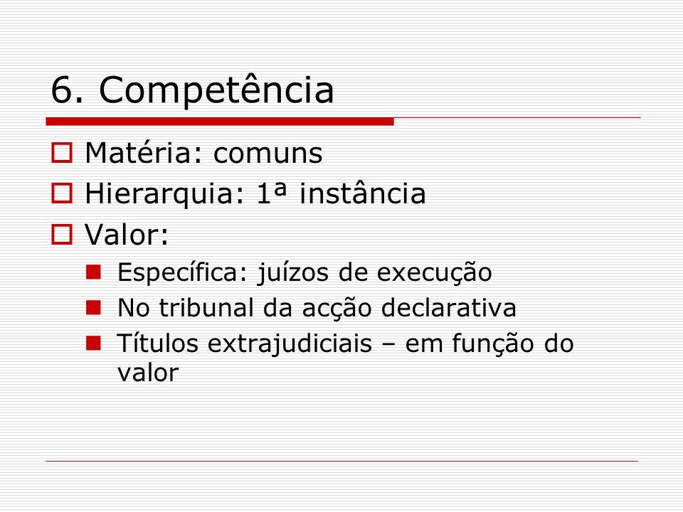 6. Competência Matéria: comuns Hierarquia: 1ª instância Valor: Específica: juízos de execução No tribunal da acção declarativa Títulos extrajudiciais