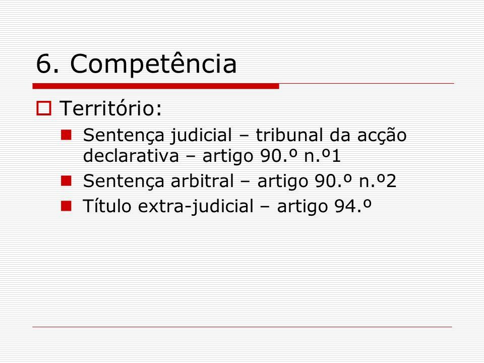 6. Competência Território: Sentença judicial – tribunal da acção declarativa – artigo 90.º n.º1 Sentença arbitral – artigo 90.º n.º2 Título extra-judi