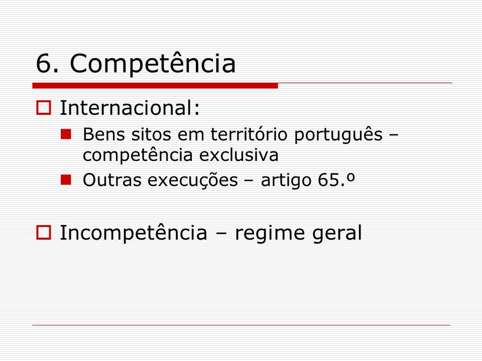 6. Competência Internacional: Bens sitos em território português – competência exclusiva Outras execuções – artigo 65.º Incompetência – regime geral