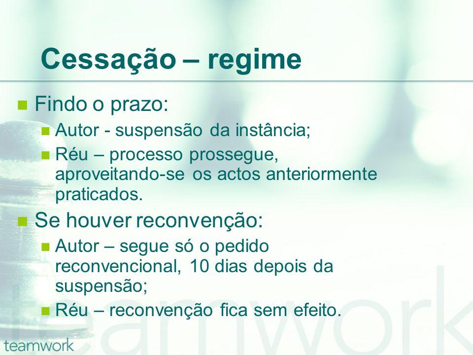Cessação – regime Findo o prazo: Autor - suspensão da instância; Réu – processo prossegue, aproveitando-se os actos anteriormente praticados. Se houve