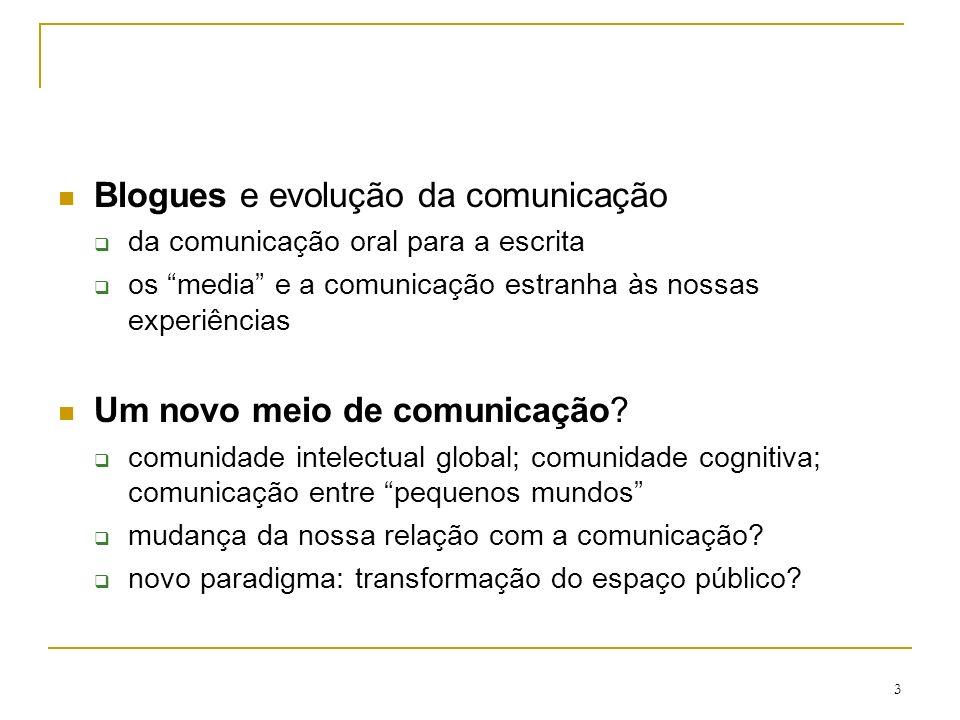 3 Blogues e evolução da comunicação da comunicação oral para a escrita os media e a comunicação estranha às nossas experiências Um novo meio de comuni