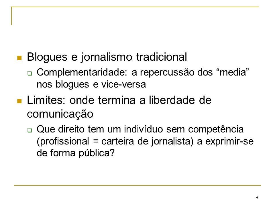 4 Blogues e jornalismo tradicional Complementaridade: a repercussão dos media nos blogues e vice-versa Limites: onde termina a liberdade de comunicação Que direito tem um indivíduo sem competência (profissional = carteira de jornalista) a exprimir-se de forma pública?