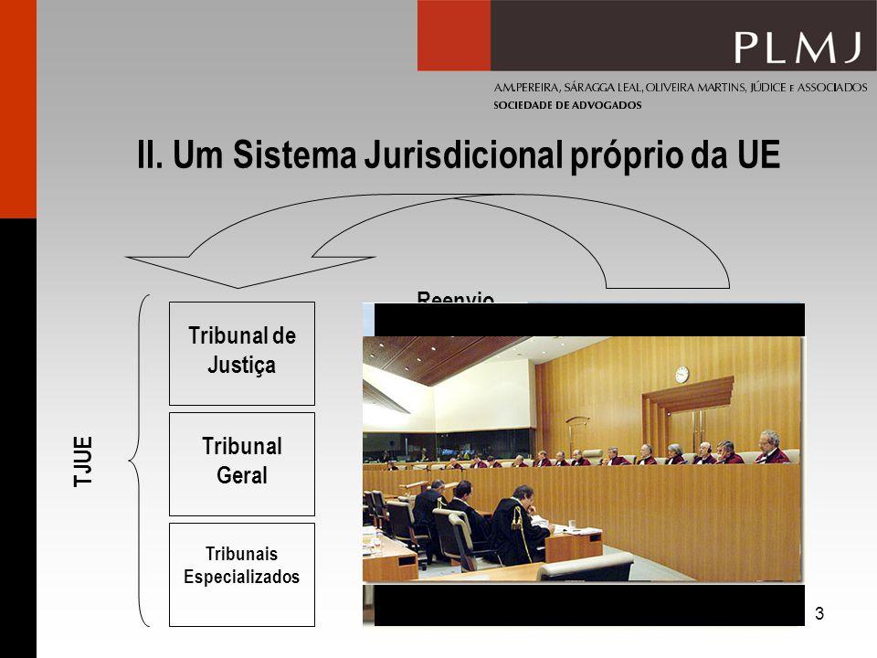 3 II. Um Sistema Jurisdicional próprio da UE Tribunais Nacionais Reenvio Prejudicial Art. 267.º TFUE TJUE Tribunal de Justiça Tribunal Geral Tribunais