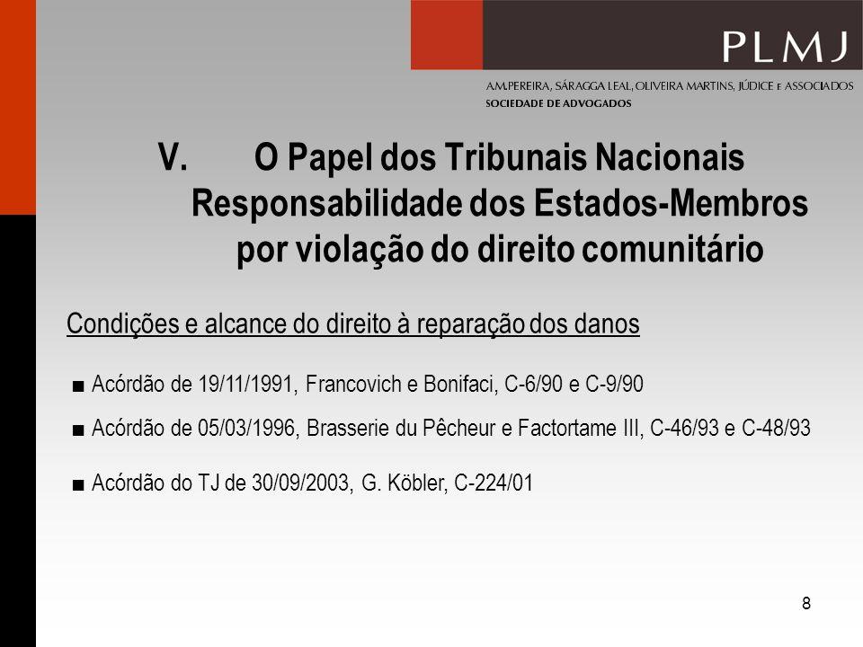 8 V.O Papel dos Tribunais Nacionais Responsabilidade dos Estados-Membros por violação do direito comunitário Condições e alcance do direito à reparaçã