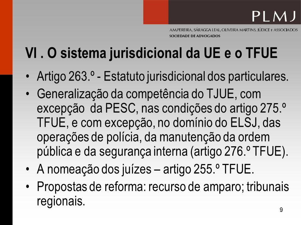 9 VI. O sistema jurisdicional da UE e o TFUE Artigo 263.º - Estatuto jurisdicional dos particulares. Generalização da competência do TJUE, com excepçã