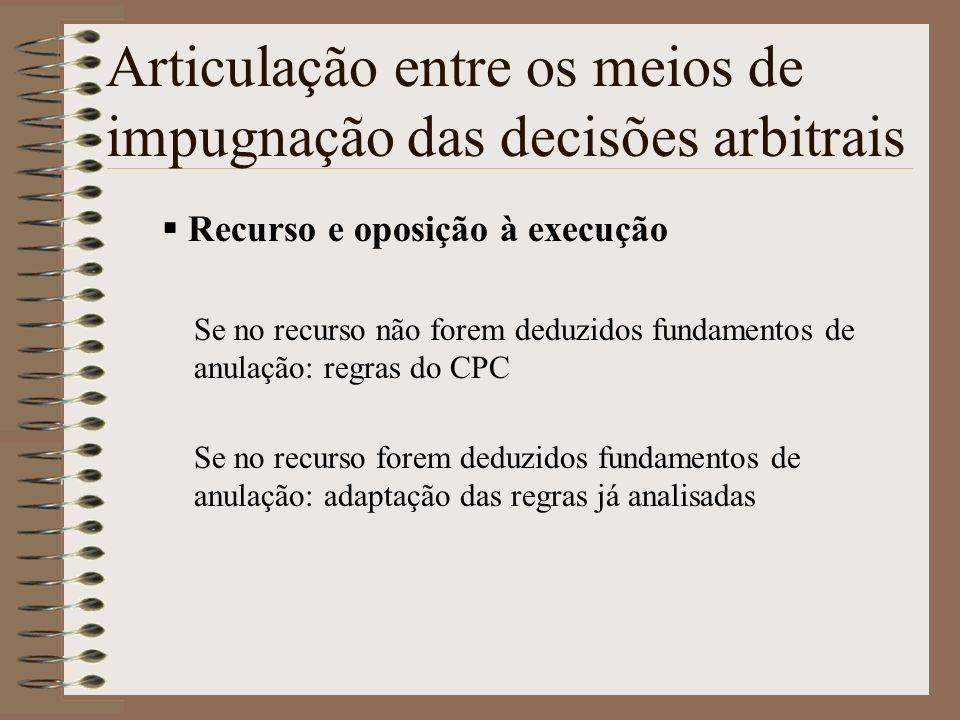 Articulação entre os meios de impugnação das decisões arbitrais Recurso e oposição à execução Se no recurso não forem deduzidos fundamentos de anulaçã