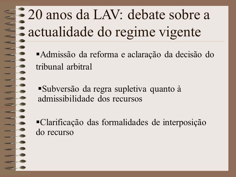 Admissão da reforma e aclaração da decisão do tribunal arbitral 20 anos da LAV: debate sobre a actualidade do regime vigente Subversão da regra suplet