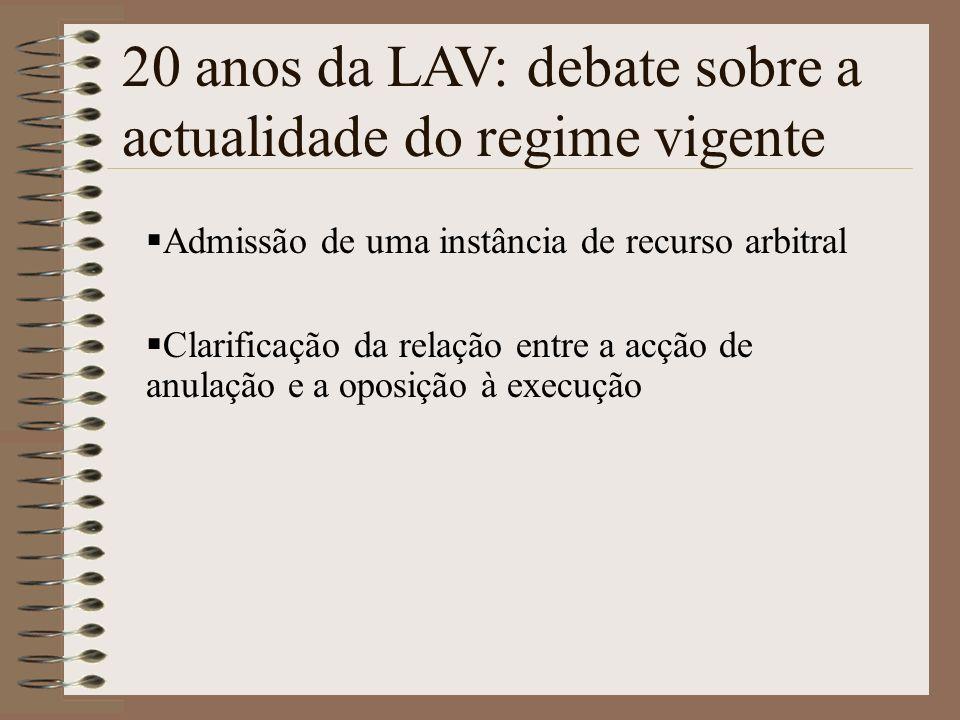 Admissão de uma instância de recurso arbitral Clarificação da relação entre a acção de anulação e a oposição à execução 20 anos da LAV: debate sobre a